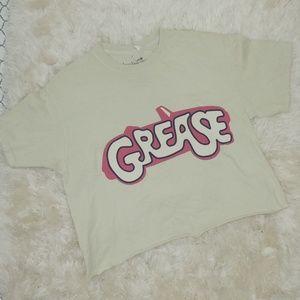 """True Vintage women Beige """"Grease"""" Graphic Crop To"""